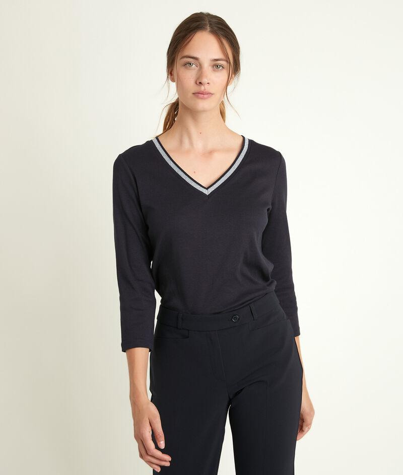 Inktblauw T-shirt met decoratieve halsuitsnijding Calypso PhotoZ | 1-2-3