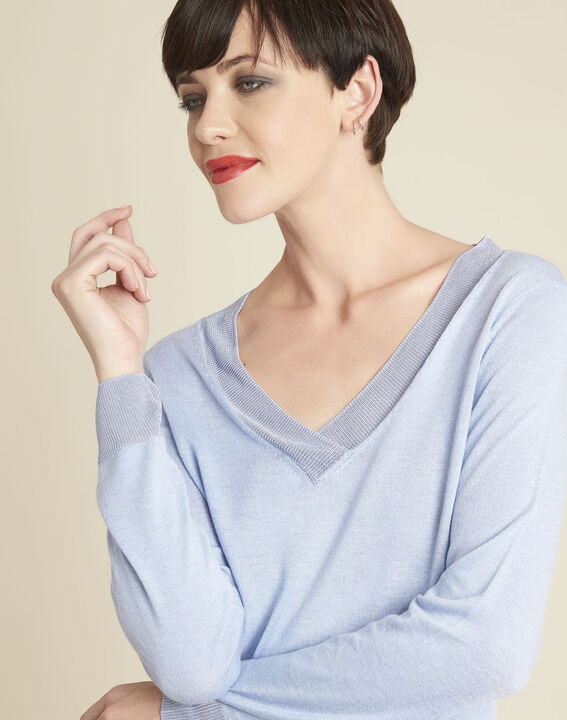 Bergamotte azure blue fine-knit sweater with V-neck (2) - 1-2-3