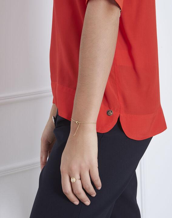 Rote, fließende Bluse mit V-Kragen Virginie (3) - Maison 123