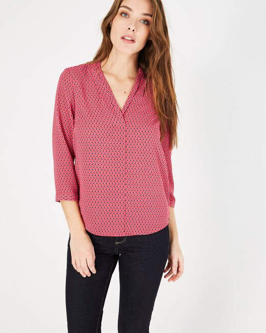 Bianca fuchsia printed blouse (2) - 1-2-3