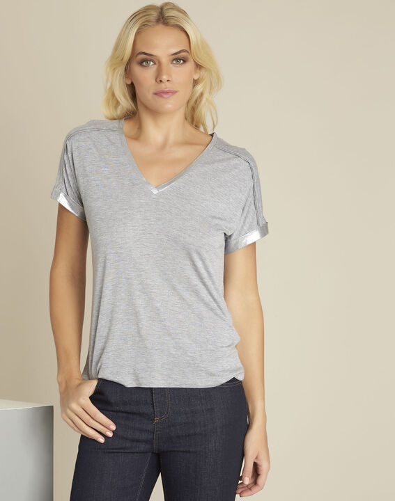 Glitter grey t-shirt with shoulder detailing (1) - Maison 123