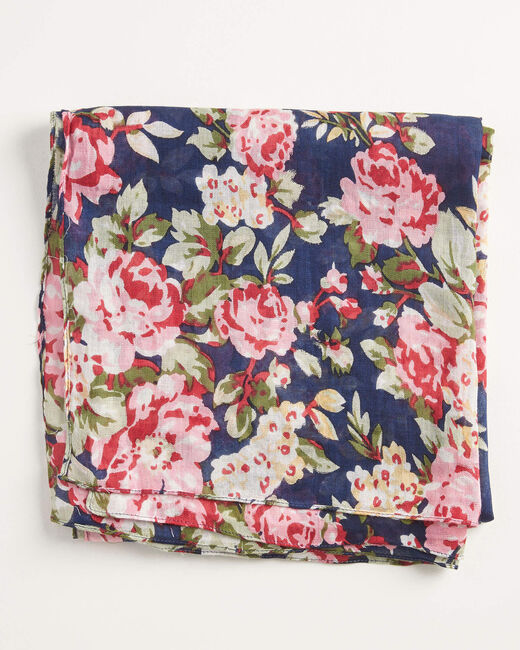 Foulard marine imprimé fleuri all-over Aron (1) - 1-2-3