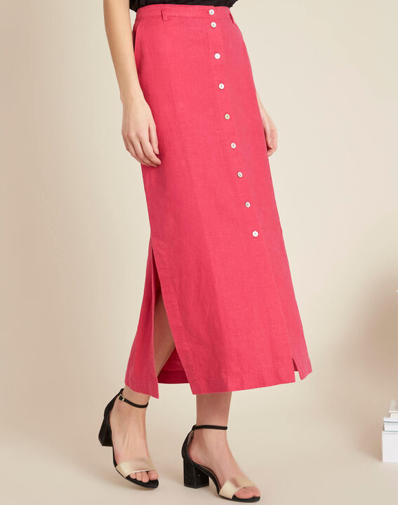 Lunis long fuchsia skirt in linen with buttons (3) - 1-2-3