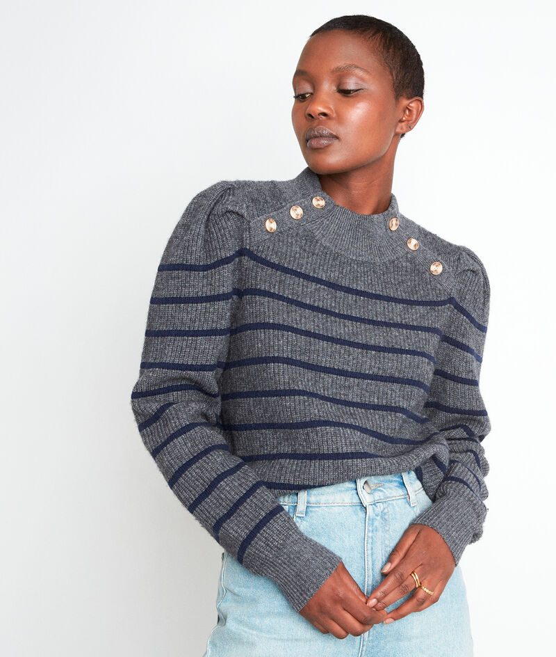 Pull en laine recyclée et rayures brodées anthracite Ted PhotoZ | 1-2-3