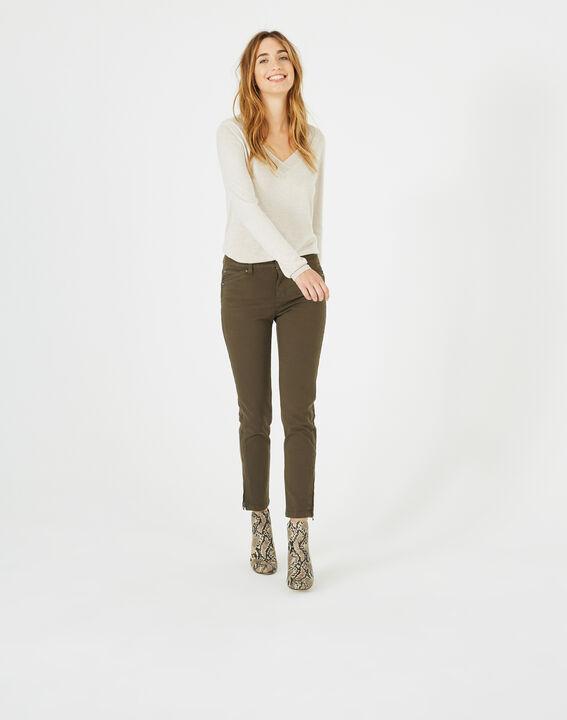 Pantalon 7/8ème kaki satin Pia PhotoZ   1-2-3