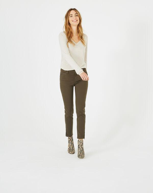 Pantalon 7/8ème kaki satin pia à