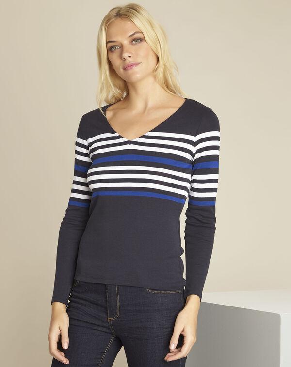 Marineblaues gestreiftes T-Shirt Gayure (1) - 1-2-3