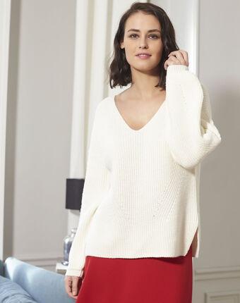 Pull écru oversize laine mélangée blanche creme.