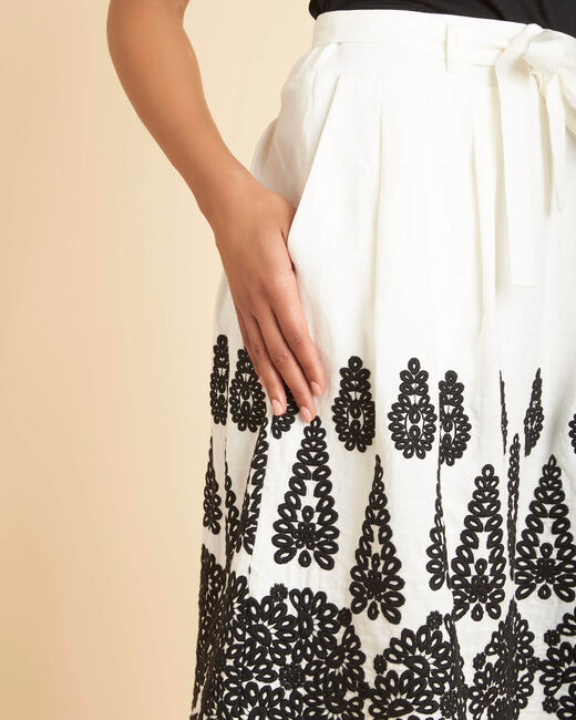 Lia ecru linen skirt with embroidery (2) - 1-2-3