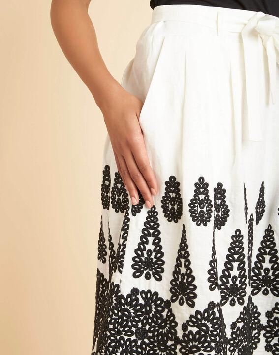 Lia ecru linen skirt with embroidery PhotoZ | 1-2-3