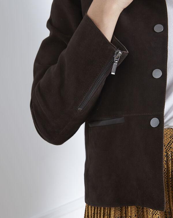 Veste marron cuir velours Thea (2) - 1-2-3