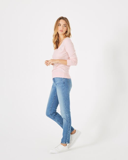 Planète pale pink sweater with V-neck and diamante (1) - 1-2-3