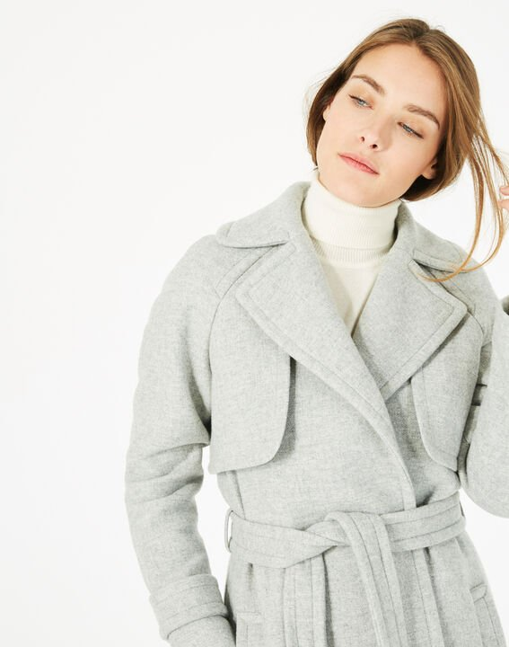 Manteau gris long façon trench Joy (3) - 1-2-3
