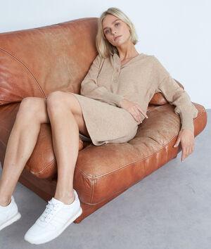 Robe à capuche en laine et cachemire beige Shalini