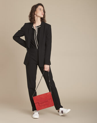 Lara black slim-cut microfibre trousers black.