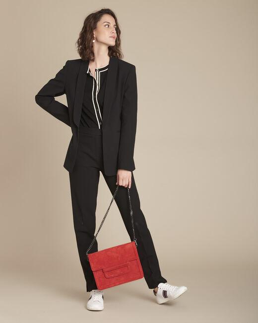Lara black slim-cut microfibre trousers (1) - 1-2-3