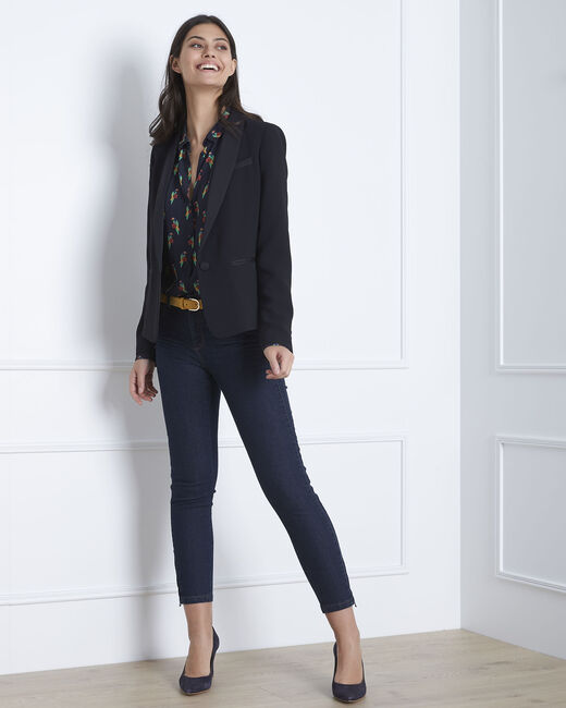 Opéra 7/8 length light navy blue slim-cut jeans with zip detailing (1) - 1-2-3
