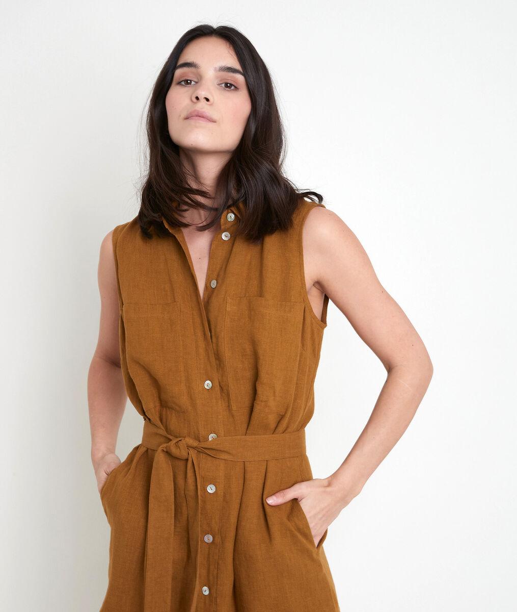 Robe chemise en lin certifié bronze Cyrielle PhotoZ | 1-2-3