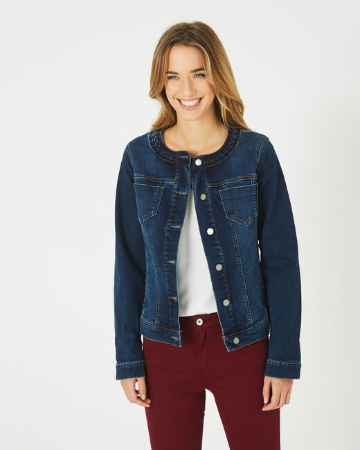 Uma denim jacket with braided collar (2) - 1-2-3