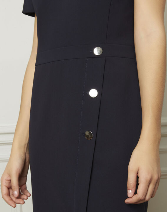 Lucia navy dress with button details (4) - Maison 123