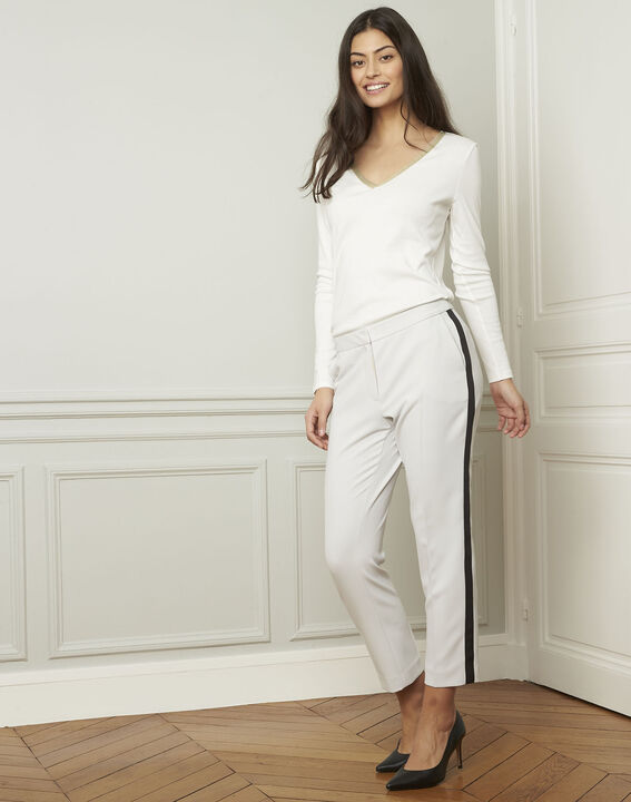 Suzanne pale grey trousers with a black microfibre band (2) - Maison 123