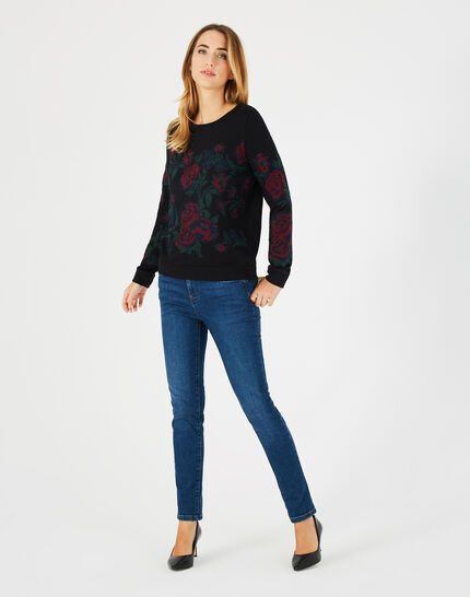 Sweat noir broderies roses Benny (1) - 1-2-3