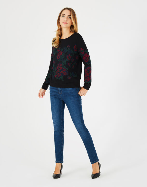 Sweat noir broderies roses Benny PhotoZ | 1-2-3