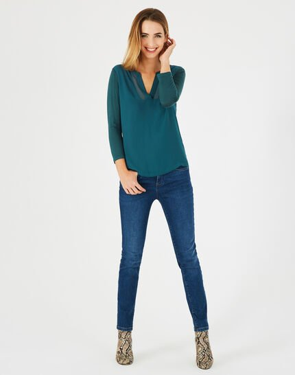 <br />Bianca forest green T-shirt with 3/4 length sleeves PhotoZ | 1-2-3