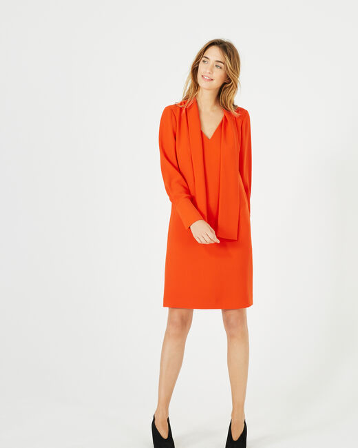 Andy orange dress with pussy bow collar (1) - 1-2-3