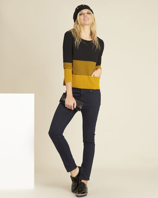 Bico ochre fine-knit sweater with patch pockets (2) - 1-2-3