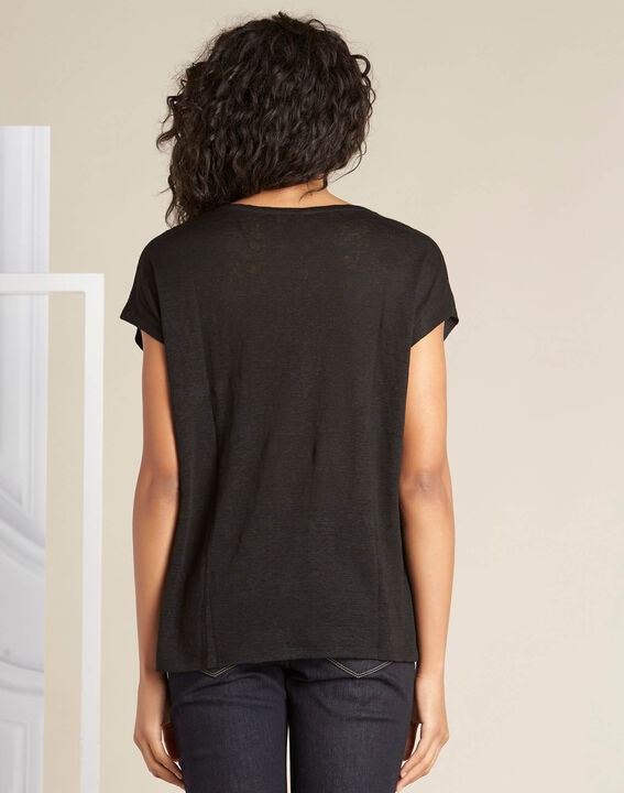 Schwarzes Leinen-T-Shirt mit Spitzendetail Elise (4) - 1-2-3