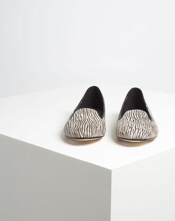 Leder-ballerinas mit zebra-print kim schwarz/weiss.