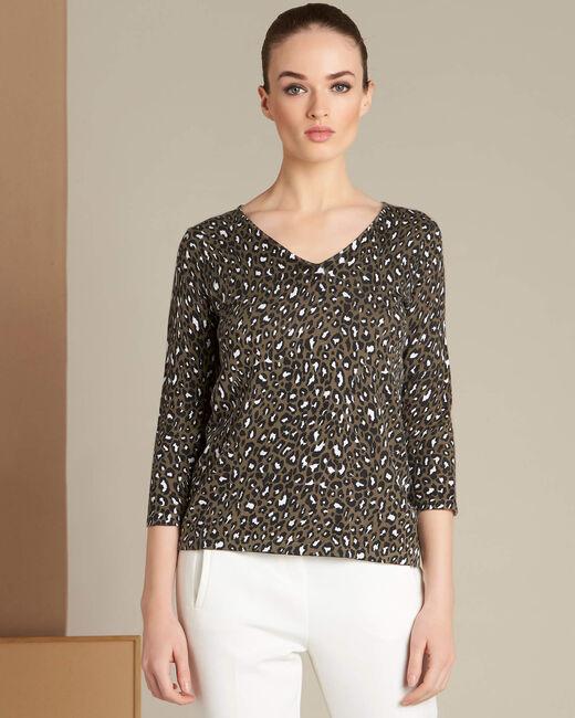 Nairobi animal print khaki sweater (2) - 1-2-3