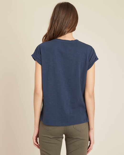 Tee-shirt bleu à broderies fleurs Ebrode (2) - 1-2-3
