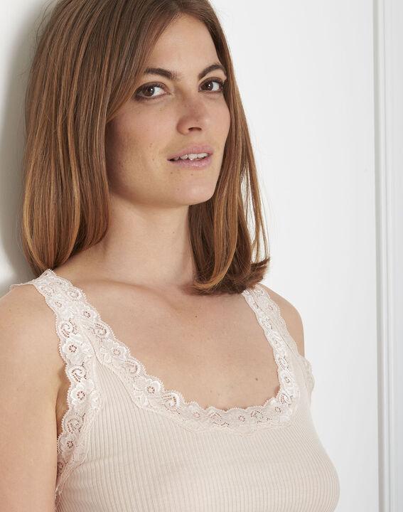 Débardeur nude soie et coton encolure dentelle Guest (4) - Maison 123