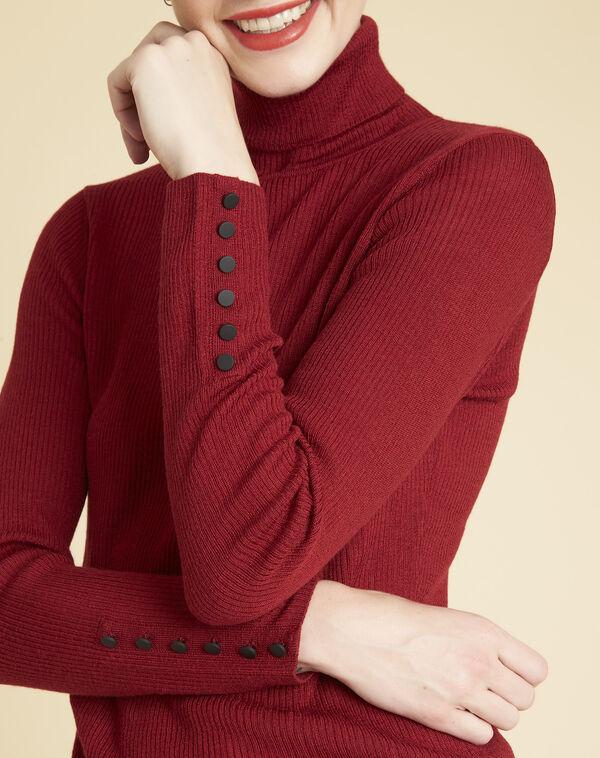 Rode trui met rolkraag van gemengde wol Basile (2) - 37653