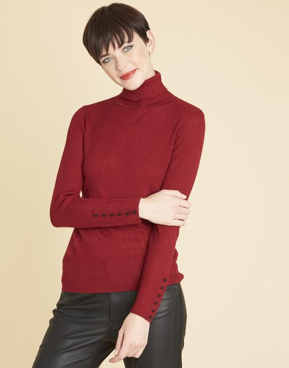 Pull rouge col roulé en laine mélangée basile