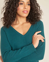 Pivoine aniseed v-neck sweater in cashmere aniseed.