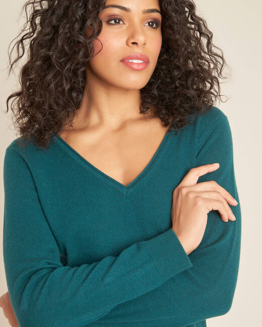 Pivoine aniseed V-neck sweater in cashmere (1) - 1-2-3