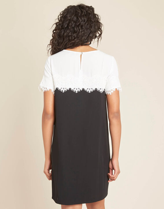 Illona black and white dress with lace neckline (4) - 1-2-3