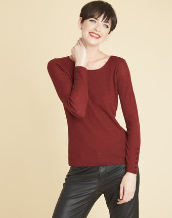 Bassus fine-knit mahogany sweater with buttoned sleeves terracotta.