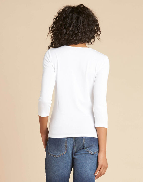 Tee-shirt blanc encolure à oeillets Basic (4) - 1-2-3