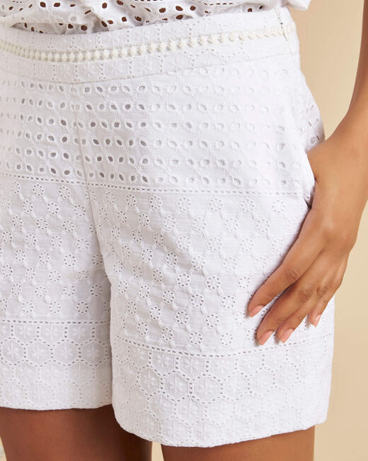 Solus embroidered white cotton shorts (2) - 1-2-3