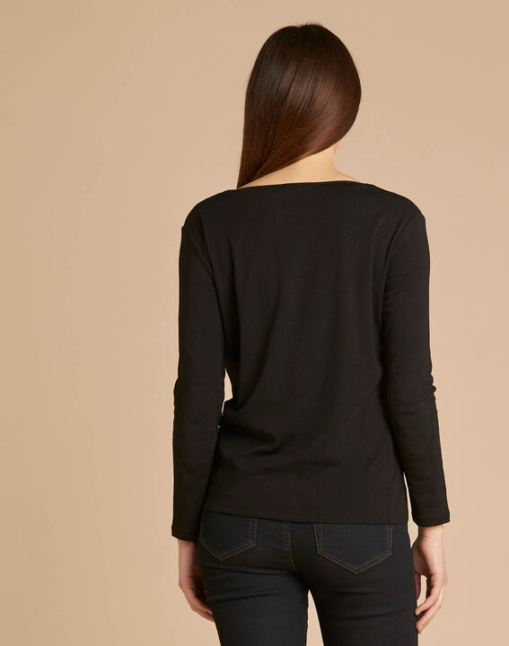 Edith black T-shirt with 3/4 length sleeves (4) - 1-2-3
