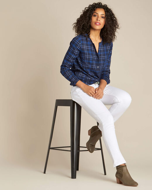 Marineblauwe blouse met ruitjes Murielle (1) - 37653