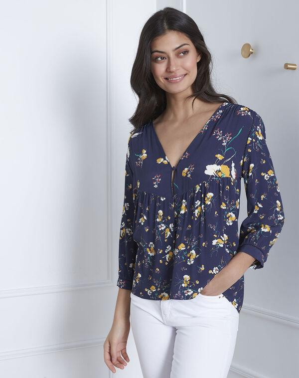 Virtuose navy floral print blouse (2) - Maison 123 ... 32159b163