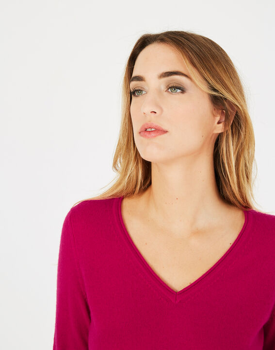 Pivoine fuchsia V-neck sweater in cashmere (3) - 1-2-3