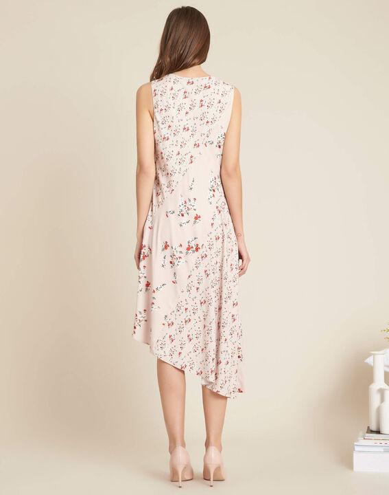Nudefarbenes schwungvolles mittellanges Kleid mit Blumenprint Impatiens (4) - 1-2-3
