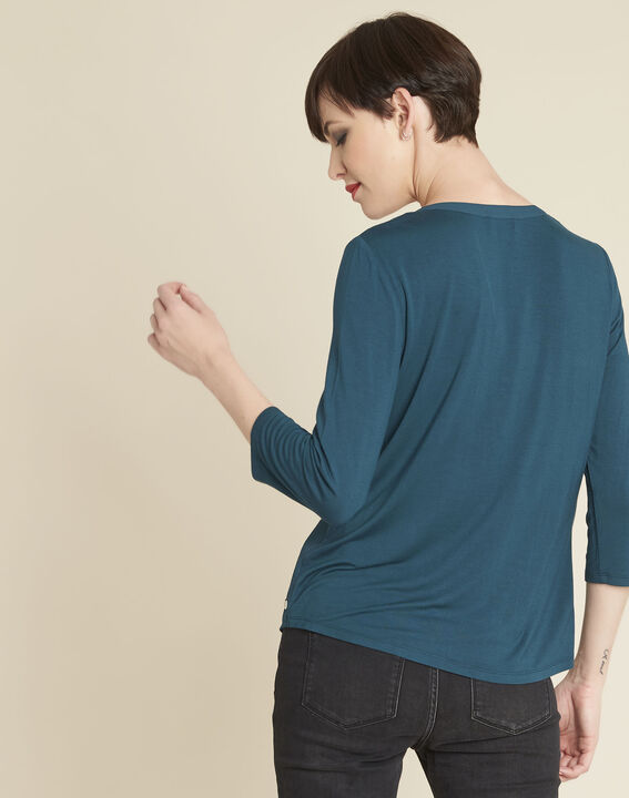 Genna V-neck emerald green dual-fabric blouse (4) - 1-2-3