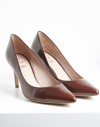 Kelly pointed toe high heels in brown leather terracotta.